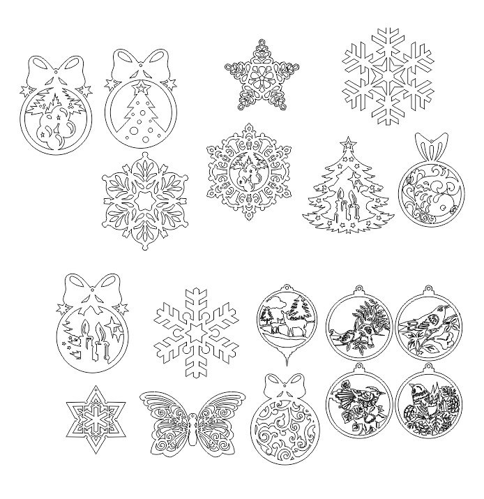Different Christmas Tree Decorations Free CDR Vectors Art