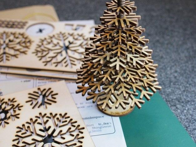 Lasercut Flat Pack Christmas Tree Free CDR Vectors Art