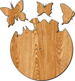 Cnc Laser Cut The Clock Is Shaped Like Butterflies Flying Out Plasma Free CDR Vectors Art