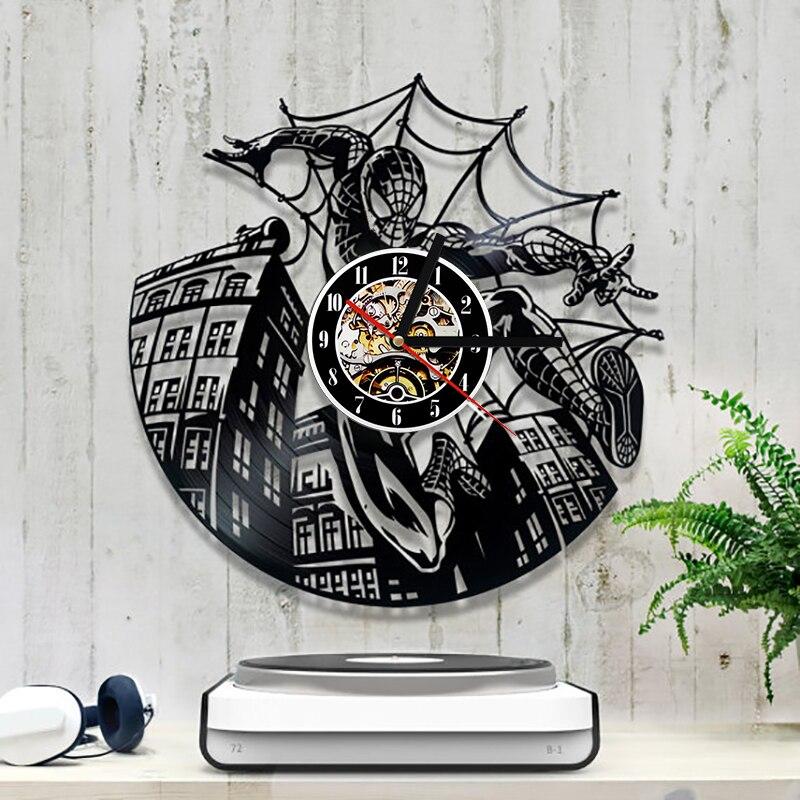 Laser Cut Spiderman Vinyl Record Clock Free CDR Vectors Art