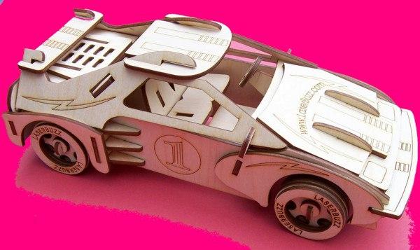 Laser Cut Racing Car 3d Puzzle Pattern Free CDR Vectors Art