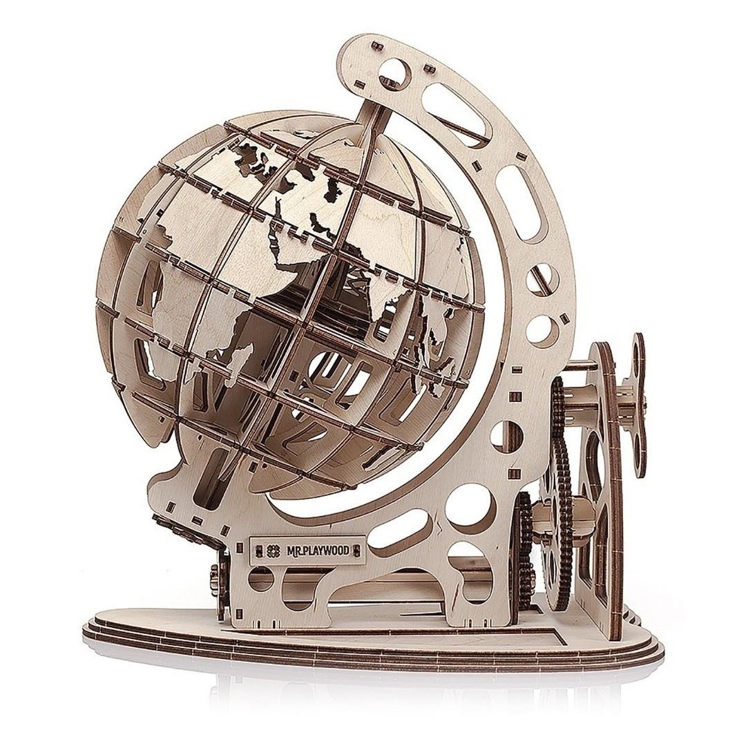Wooden Globe Puzzle Laser Cut Free CDR Vectors Art