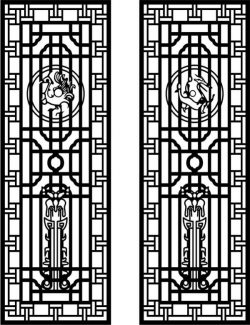 Cnc Laser Cut Two Doors Of Dragon And Phoenix Free CDR Vectors Art