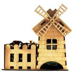 Cnc Laser Cut Tea House And Windmill Free CDR Vectors Art