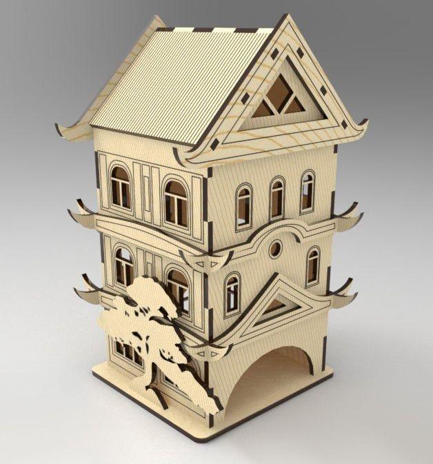 Laser Cut Pagoda Tea House Tea Bag Dispenser Free CDR Vectors Art