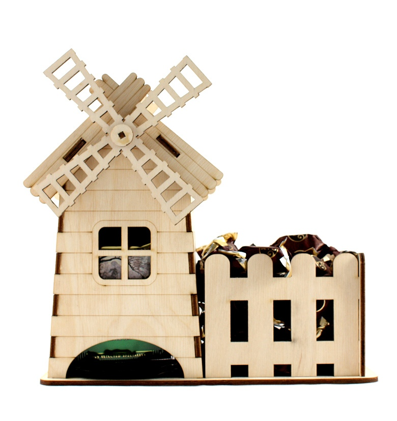 Laser Cut Windmill Tea House Template Free CDR Vectors Art