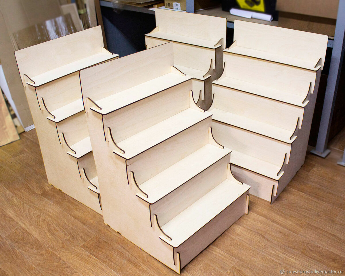 Laser Cut Wooden Ladder Shelf Display Stand Free CDR Vectors Art