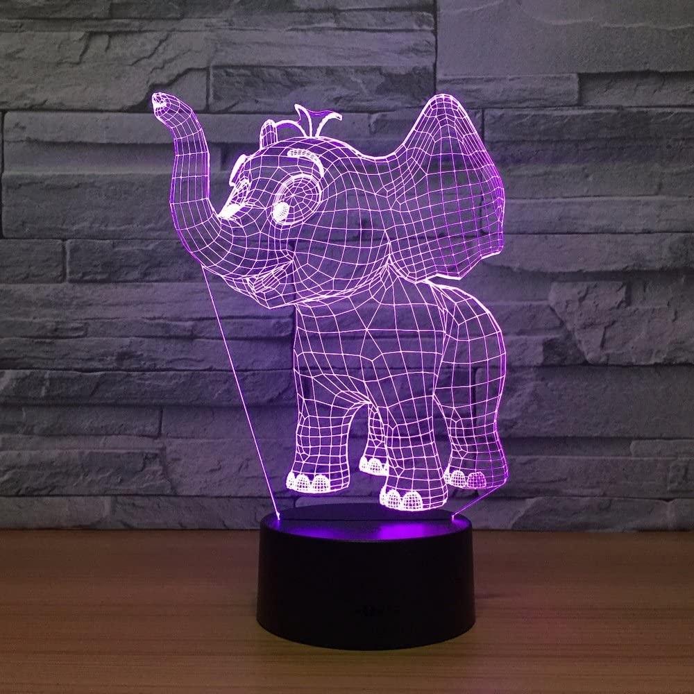 Laser Cut Baby Elephant 3d Night Light Desk  Optical Acrylic Lamp Free DXF File