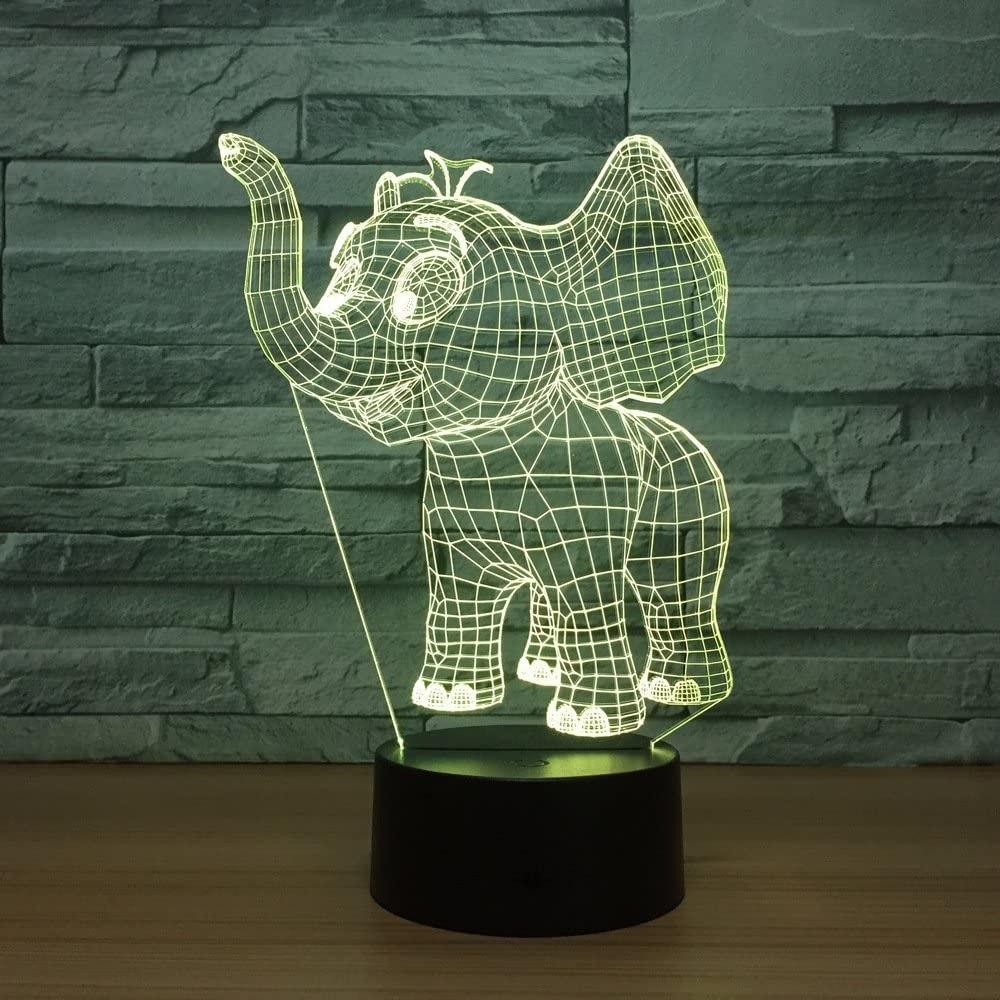 Laser Cut Baby Elephant 3d Night Light Desk 3d Optical Illusion Lamp Free DXF File