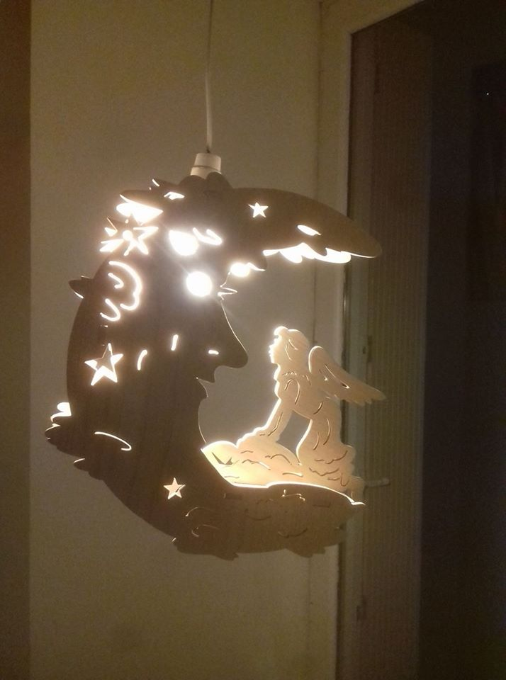 Laser Cut Fairy Moon Lamp Night Light Free DXF File
