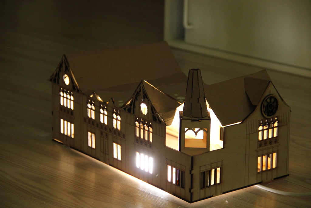 Laser Cut House Shaped Lamp Free DXF File