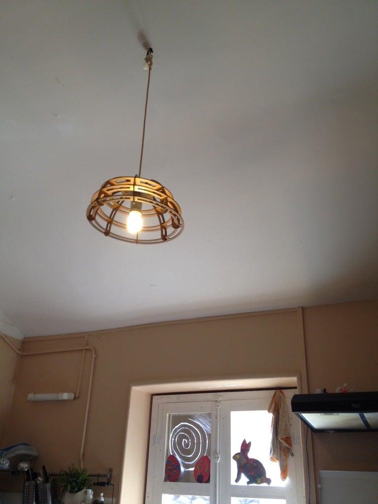 Laser Cut Wooden Hanging Pendant Lamp Free DXF File