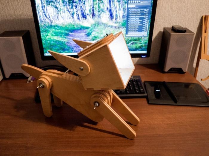 Laser Cut Cute Wooden Dog Design Adjustable Table Lamp Free CDR Vectors Art