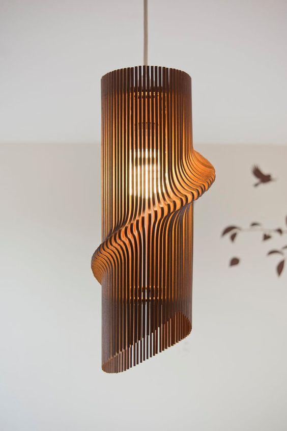 Laser Cut Wooden Wave Pendant Lamp Free CDR Vectors Art