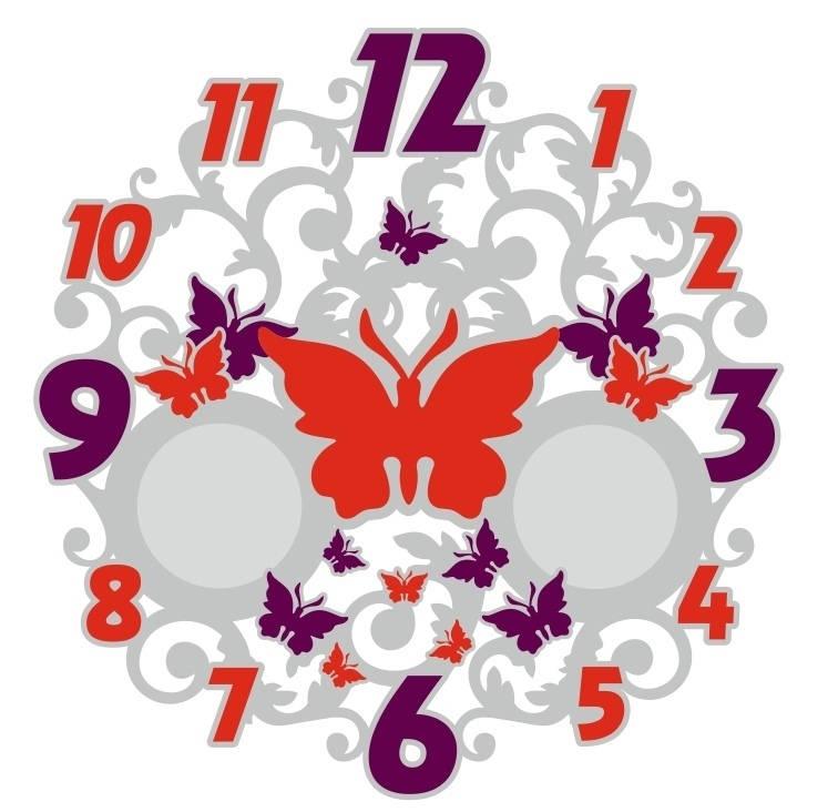 Laser Cut Butterfly Wall Clock Decorative Free CDR Vectors Art