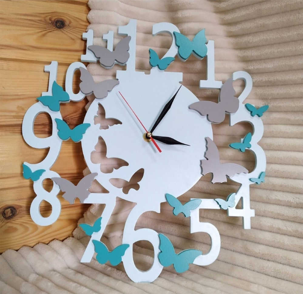 Laser Cut Butterfly Wall Clock Gift Idea Free CDR Vectors Art