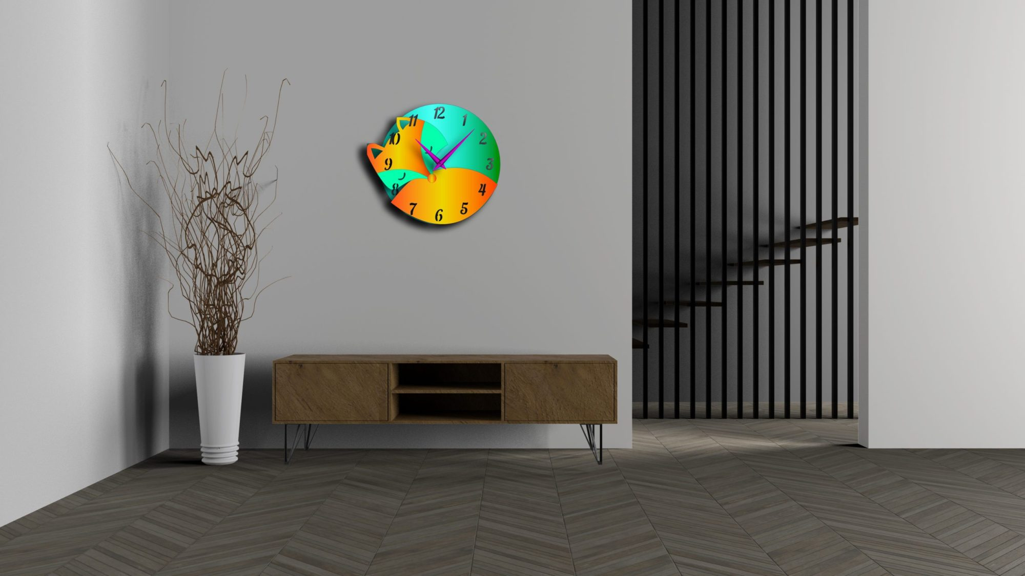 Fox Watch Wall Hanging Clock Cnc Free DXF File