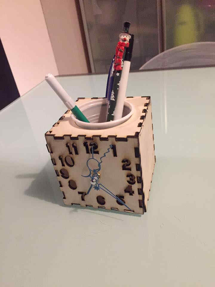 Laser Cut Wooden Desk Organizer With Clock Free DXF File