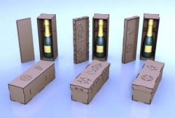 Cnc Laser Cut Wooden Case Wine Bottles Free CDR Vectors Art