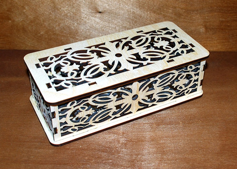 Laser Cut Patterned Wooden Box With Lid Free CDR Vectors Art