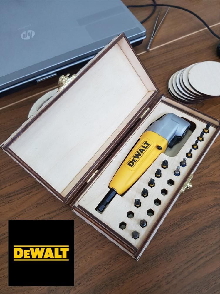Laser Cut Wooden Box For Dewalt Right Angle Attachment Free CDR Vectors Art