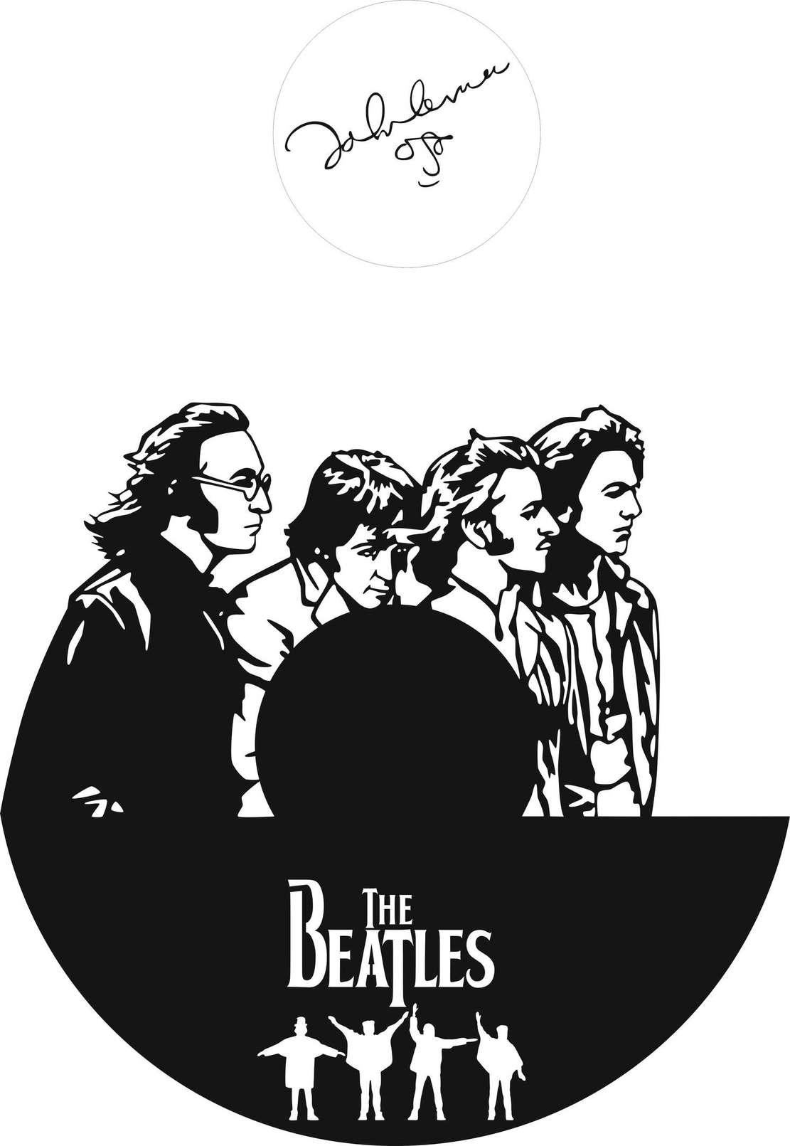 Laser Cut The Beatles Clock Templates Free CDR Vectors Art