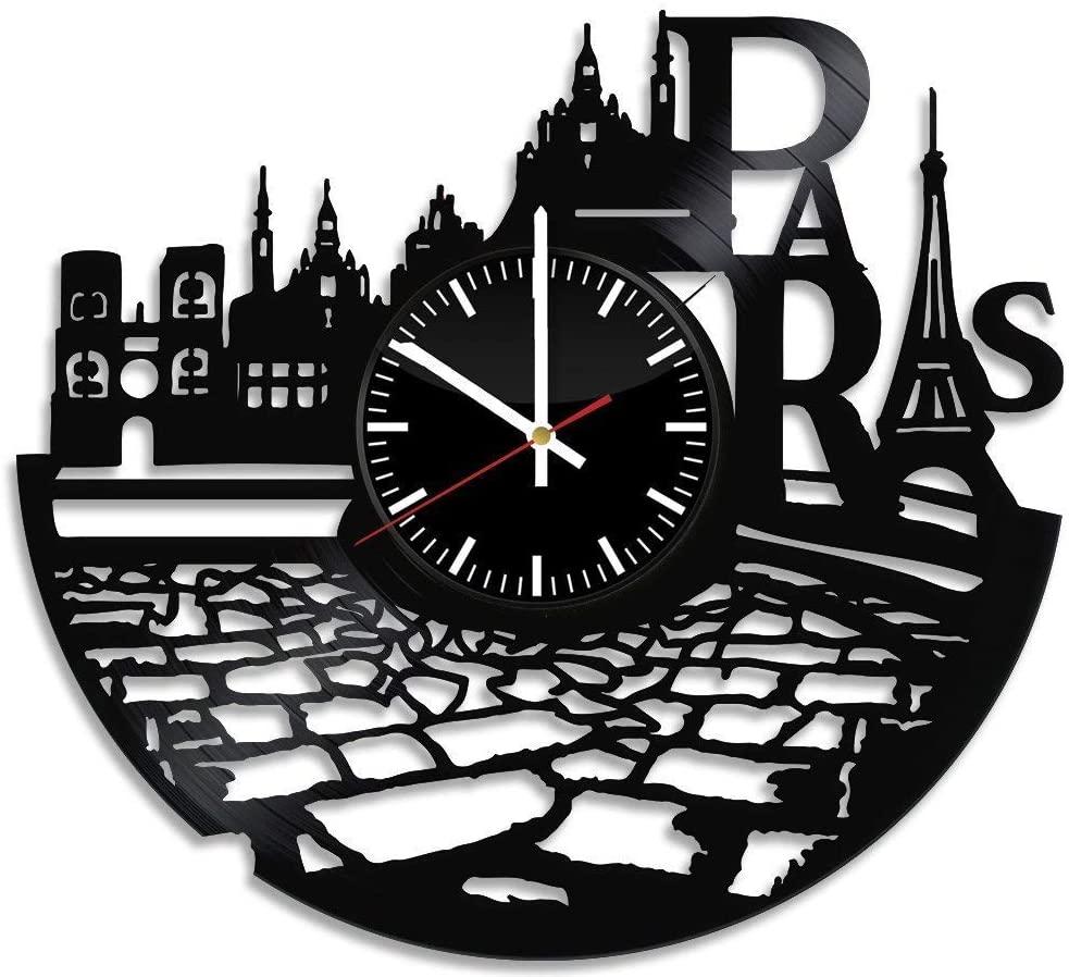 Laser Cut France Paris City Theme Vinyl Wall Clock Free DXF File