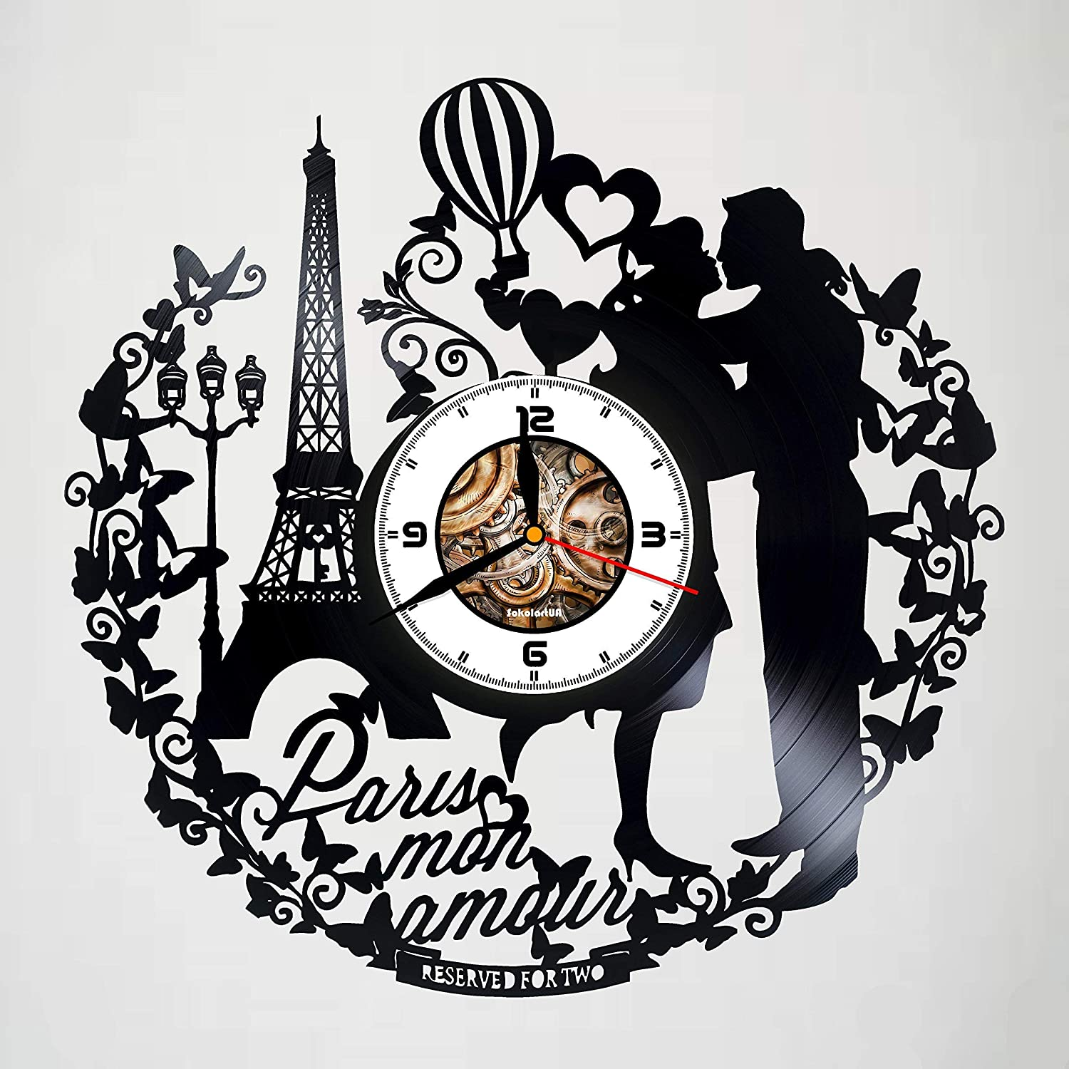 Laser Cut Paris France Mon Amour Vinyl Record Wall Clock Free DXF File