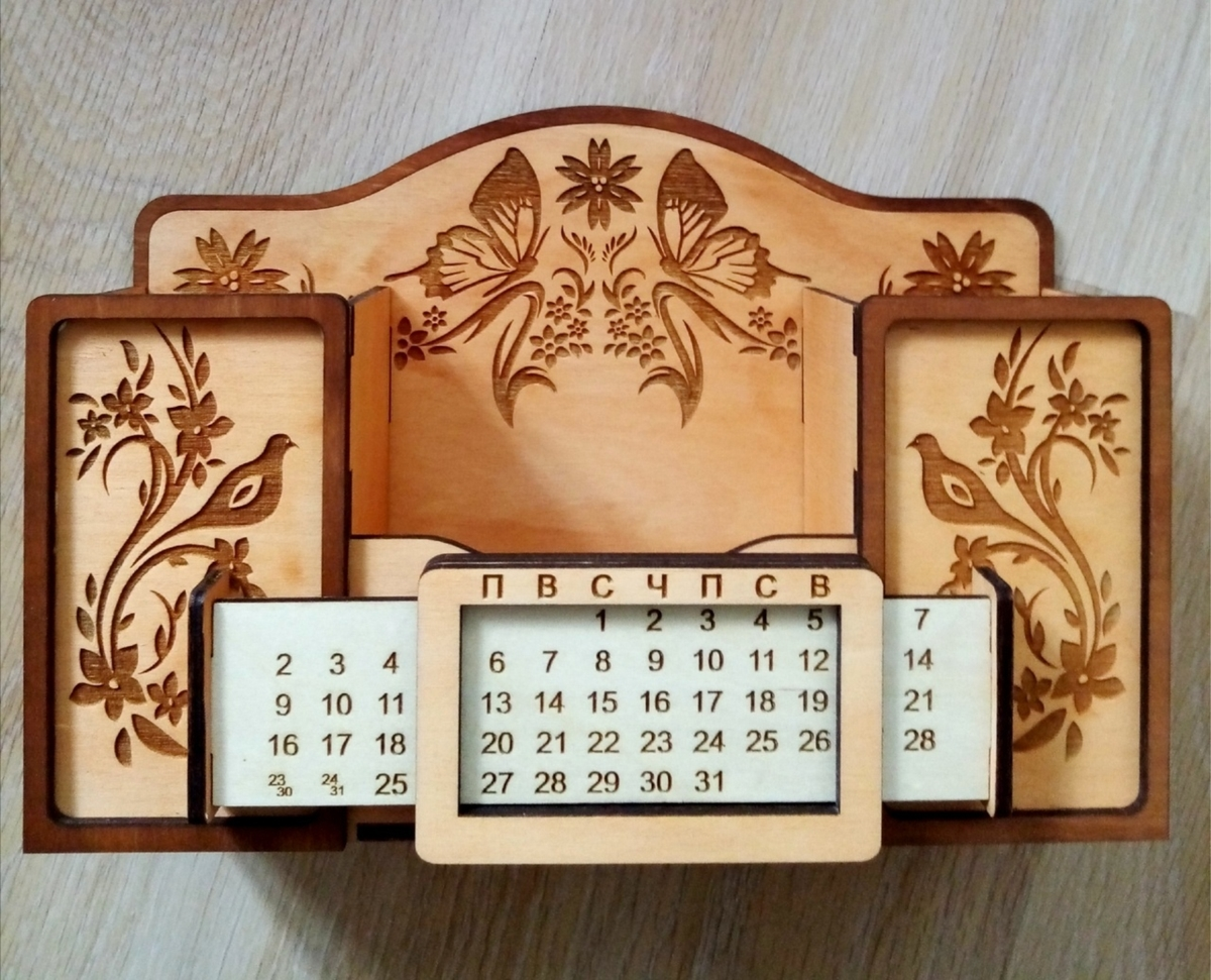 Cnc Laser Cut Desk Organizer With Calendar Free CDR Vectors Art
