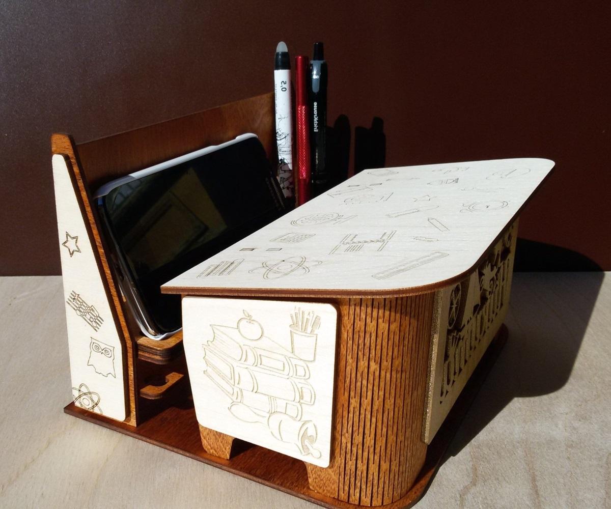 Laser Cut Classroom Furniture Shaped Organizer Phone Stand Pencil Holder Free CDR Vectors Art