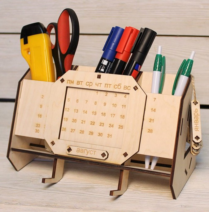 Laser Cut Desk Organizer With Perpetual Calendar Unique Teacher Gifts Free CDR Vectors Art