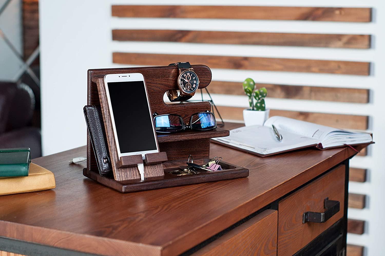 Laser Cut Phone Docking Station Ash Key Holder Wallet Stand Watch Organizer Free CDR Vectors Art
