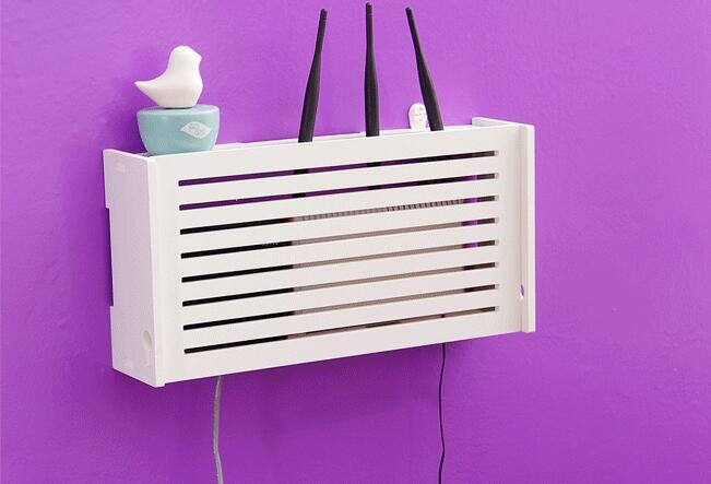 Laser Cut Wifi Router Storage Box Wood Shelf Wall Hangings Bracket Cable Organizer Free CDR Vectors Art