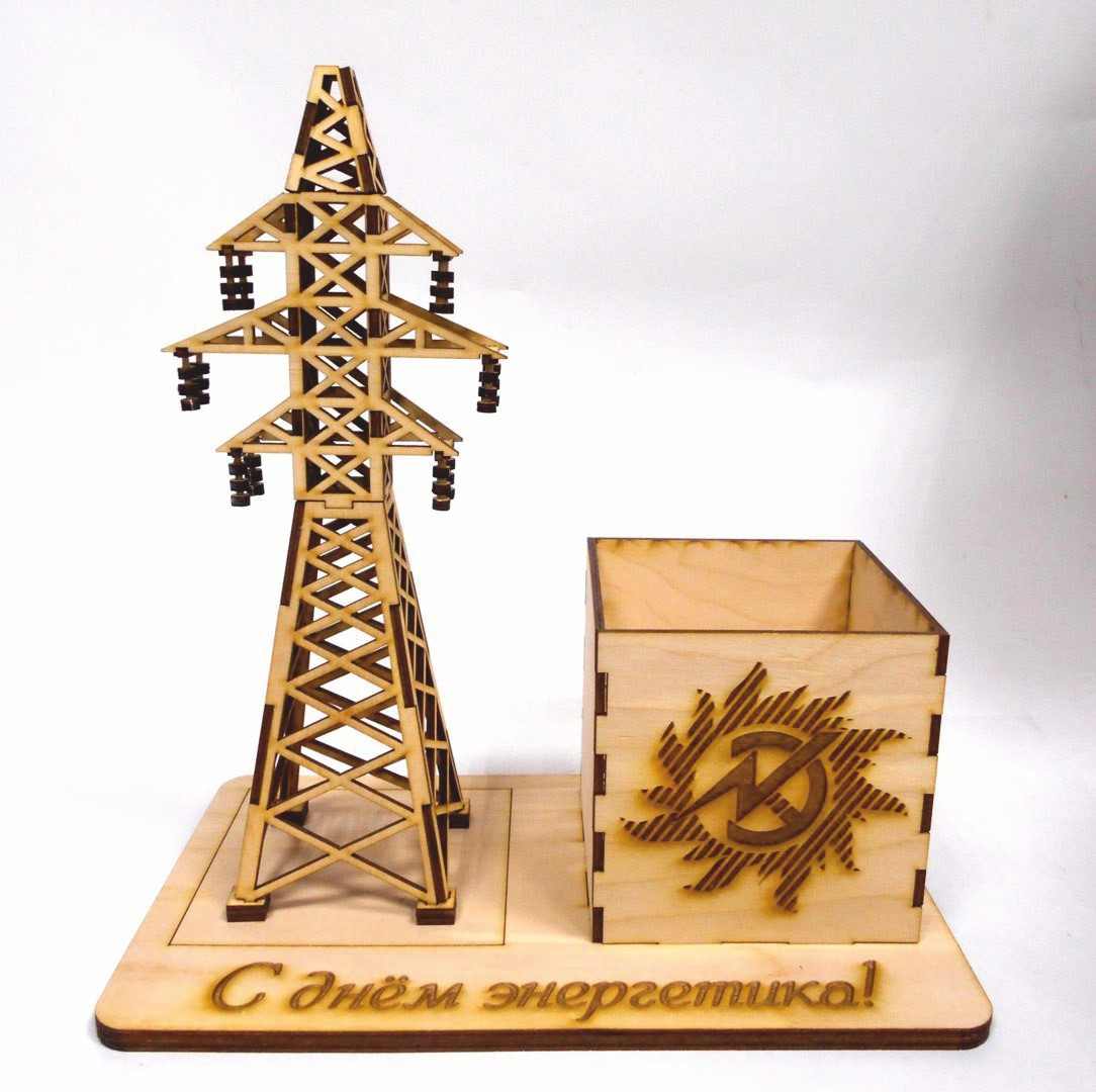Laser Cut Electricity Tower Pencil Holder Desk Organizer Free DXF File