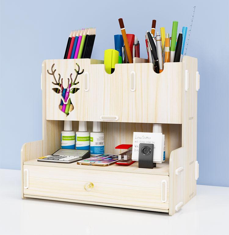 Laser Cut Pen Holder Creative Student Desktop Stationery Storage Rack Organizer Free DXF File