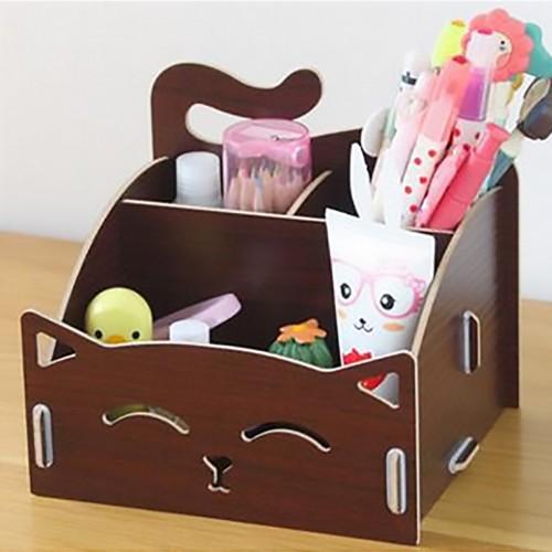 Laser Cut Cute Cat Wooden Storage Box Office Desktop Cosmetic Organizer Free CDR Vectors Art