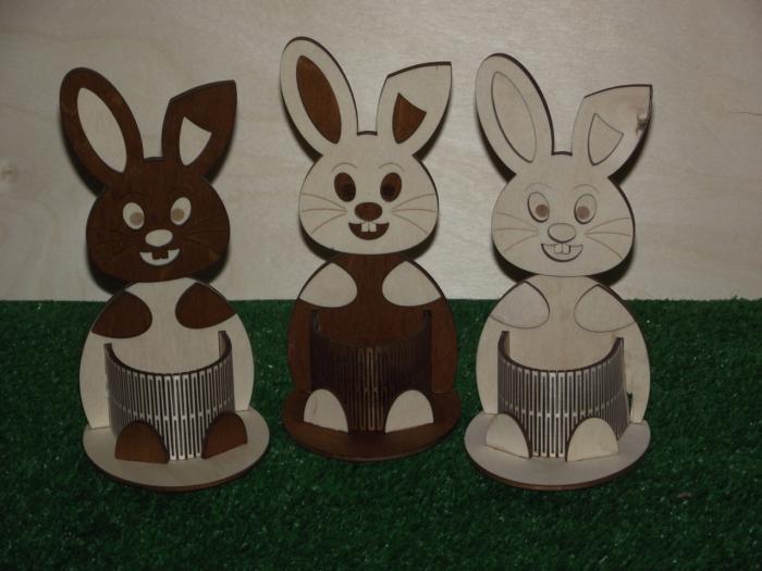 Laser Cut Easter Bunny Pencil Holder Desk Organizer Free CDR Vectors Art