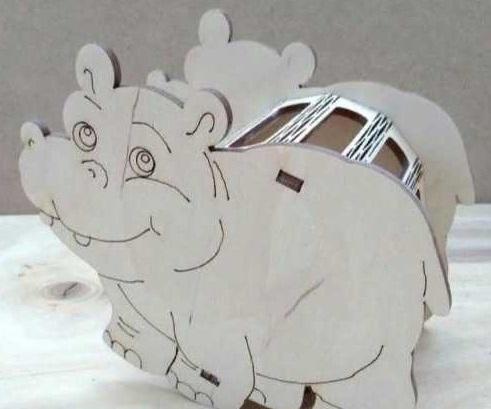 Laser Cut Hippo Pencil Holder Desk Organizer Free CDR Vectors Art