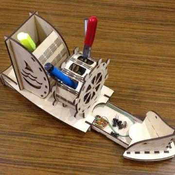 Laser Cut Ship Pen Holder Organizer Table Decor Free CDR Vectors Art