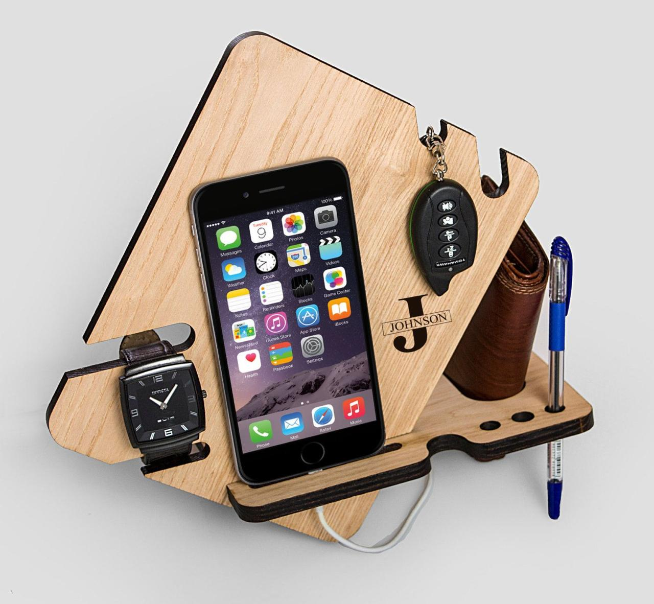 Laser Cut Wood Phone Docking Station With Key Holder Wallet Stand Watch Organizer Free CDR Vectors Art