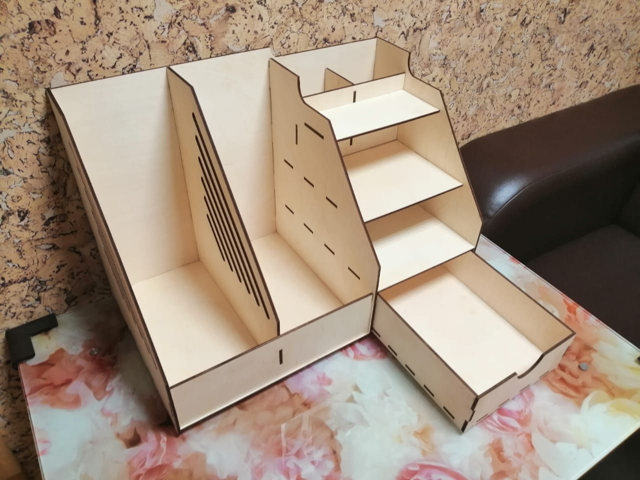 Laser Cut Wooden Office Organizer With Drawer Free CDR Vectors Art