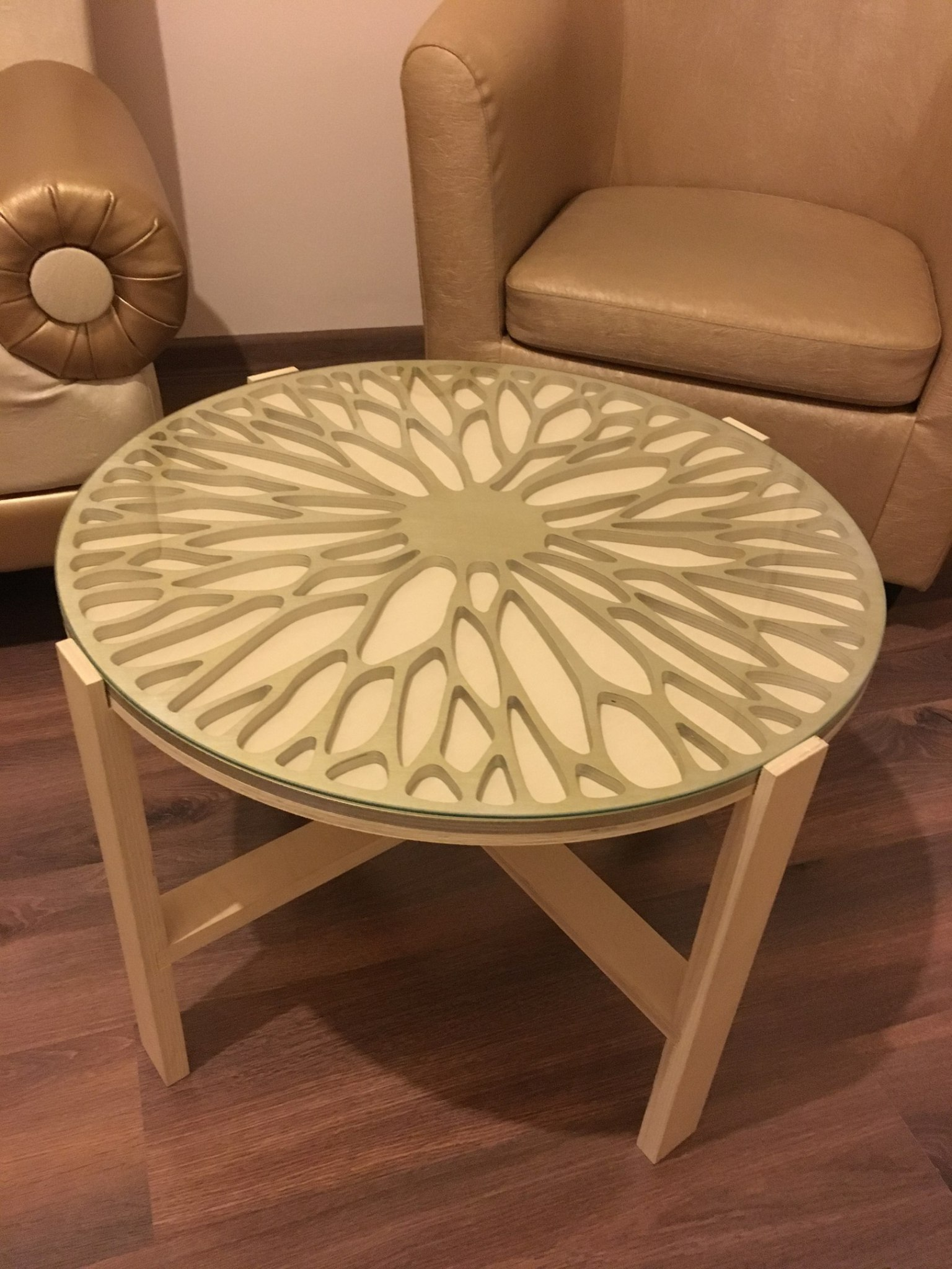 Laser Cut Modern Creative Round Table Top Free CDR Vectors Art