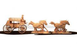 Cnc Laser Cut Wooden Stagecoach Free CDR Vectors Art