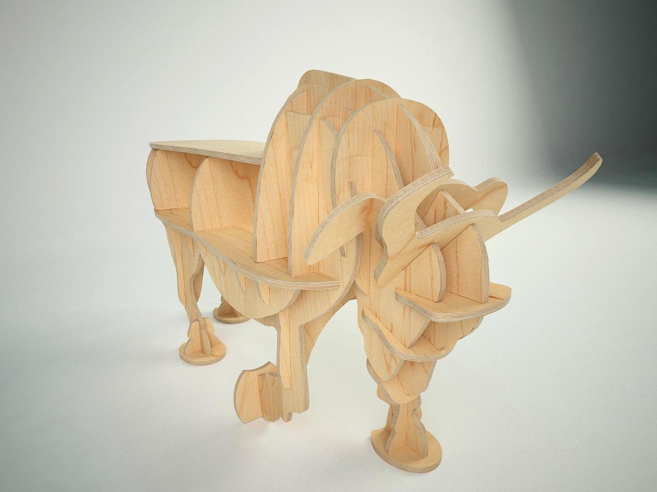 Laser Cut Bull 3d Wooden Puzzle Free CDR Vectors Art
