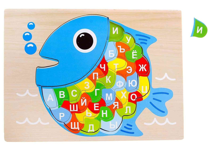 Laser Cut Educational Wooden Puzzle Russian Alphabet Fish Free CDR Vectors Art