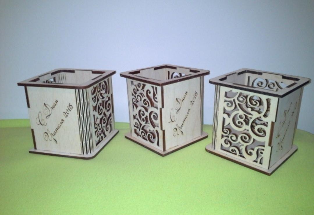 Laser Cut Wood Pen Holder Free DXF File