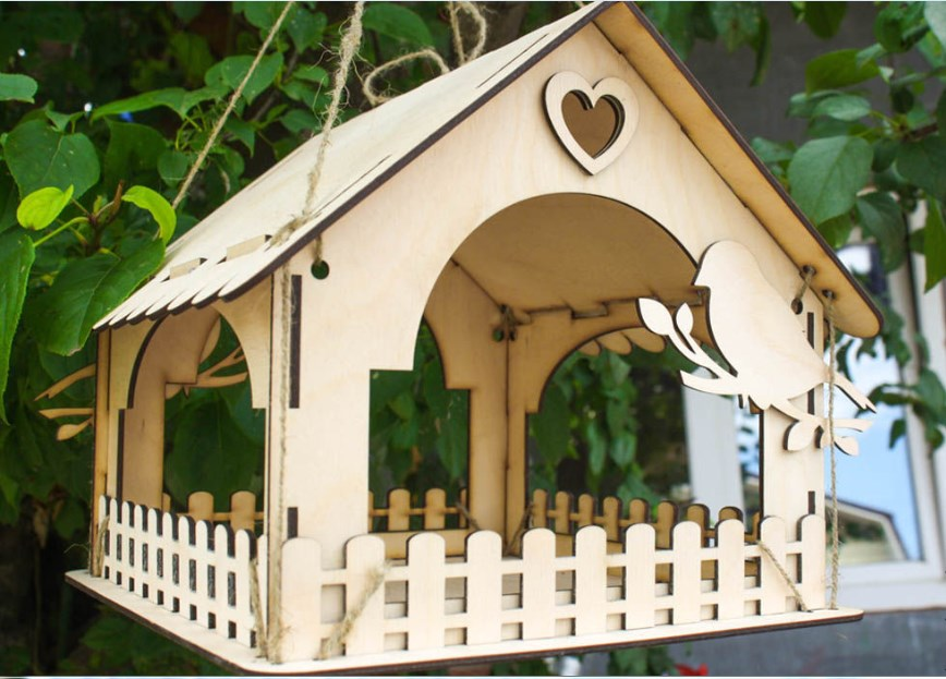 Wooden Bird Feeders Design For Laser Cutting Free DXF File
