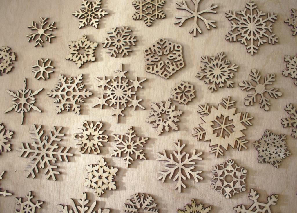 Laser Cut Wood Snowflakes Ornaments Free CDR Vectors Art