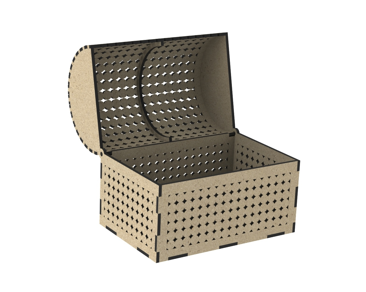Laser Cut Wooden Chest With Decorative Lid Free CDR Vectors Art