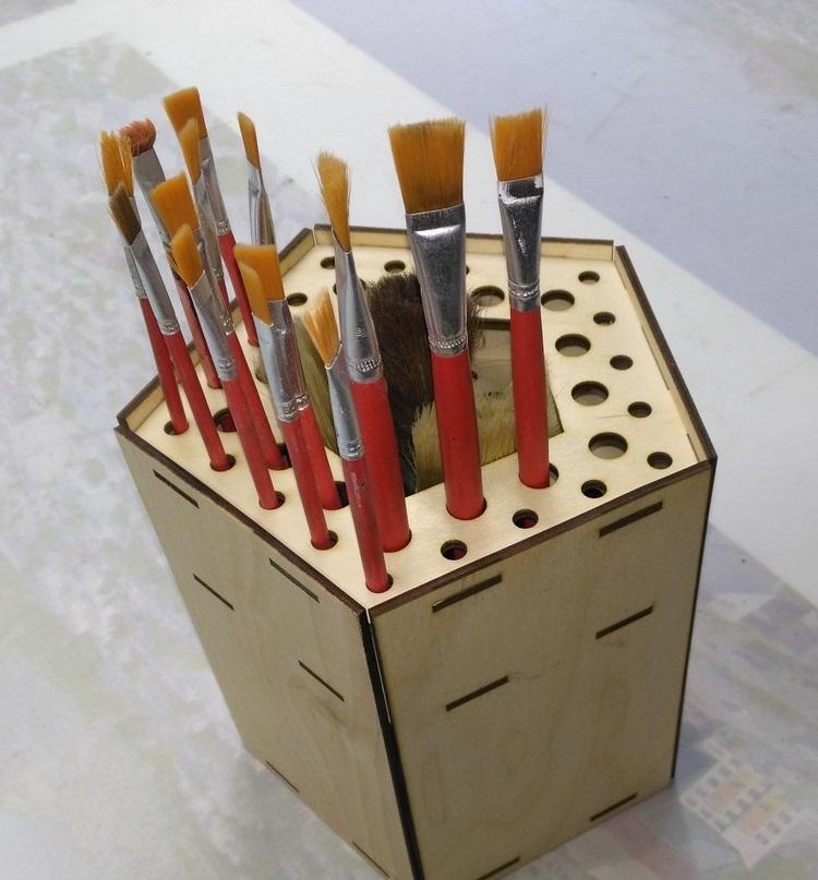 Laser Cut Wooden Paint Brush Holder Free CDR Vectors Art